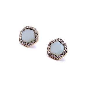 Mint Crystal Vintage Gold Statement Stud Earrings